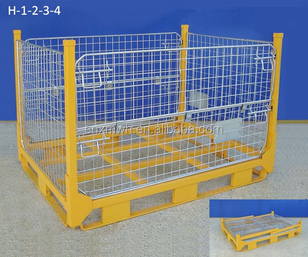heavy duty steel wire mesh metal pallet cage for warehouse material handling