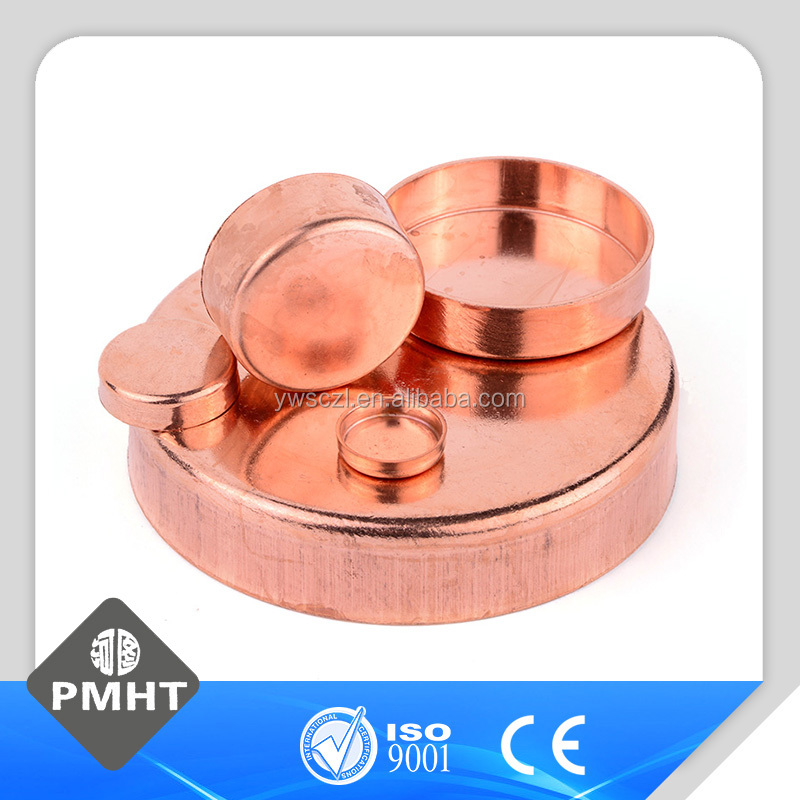 Round shape copper end cap for plumbing
