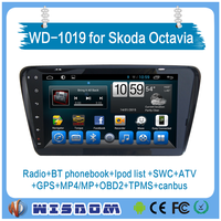 WISDOM Factory android car radio with gps for skoda octavia full screen DVD+Radio+Bluetooth+Ipod+SWC+ATV+TPMS+CANBUS