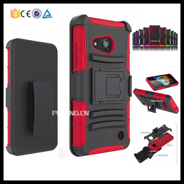 3 in 1 heavy duty belt clip holster case for Nokia lumia 550 , pc silicone hybrid armor kickstand case for Nokia lumia 550