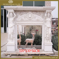 Wholesale price cheap hand carved stone indoor used white marble fireplace