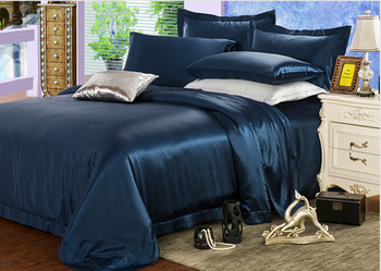 luxury pure silk satin solid color dyed bedding set silk duvet cover