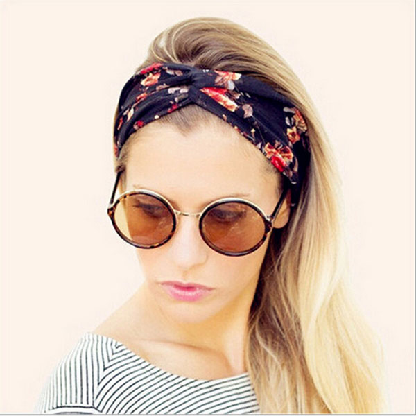Women Colorful Twisted Knotted Head Wrap Elastic Turban Headband Nine Color Hairband