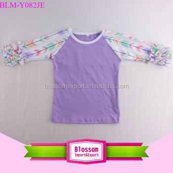 Wholesale Children Raglan Baseball Tops Boutique Lavender Body with Rainbow Arrow Printed Sleeve Icing Ruffle Raglan Shirt