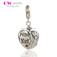 925 Fashion Silver Jewelry Customized Stamp Carving New York Beads