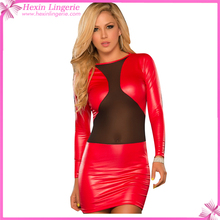 Rose Red Long Sleeve Sex Leather Ladies Jumpsuit