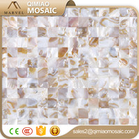 Used Metal Building Materials 20x20 mm Sea Shell Mosaic Art For Bathroom Wall