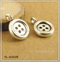 Antiqued Silver Retro Alloy Button Necklace Earring Pendant Charms