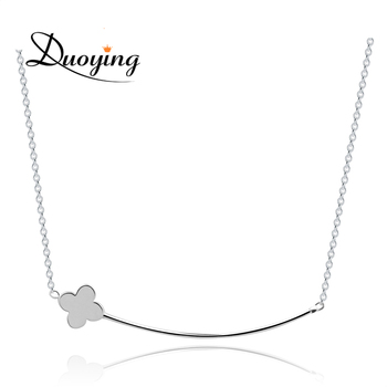 Latest Design Free Samples Minimalist Silver Plated Bar Clover Necklace for Girls