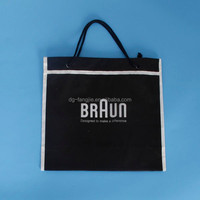 Wholesale custom printed Bruan plastic rope handle bag with metal eyelets