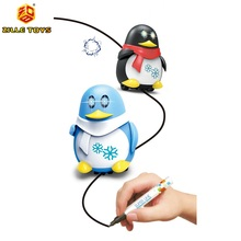 ZILLE Magic Pen Inductive Penguin Robot Battery Operated Follow LIne To Walk Toys