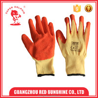 Latex coated work gloves cotton lined rubber gloves for industrial work