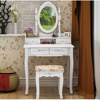Wood white vanity set make up table with oval mirror dressing table