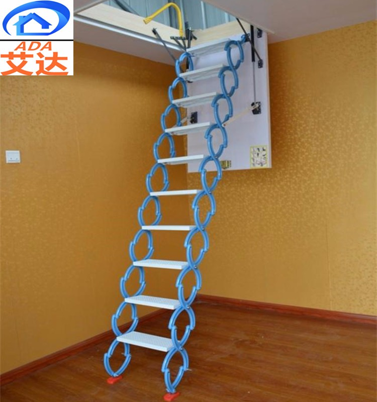 indoor Titanium magnesium alloy hydraulic folding attic stairs