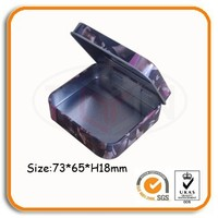 small metal hinged lid tin condom packing box