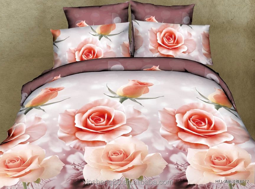 rose pattern 3d printed bedding 4 piece bed cover set reactive printed 4pc bedsheet set in a bag beddings