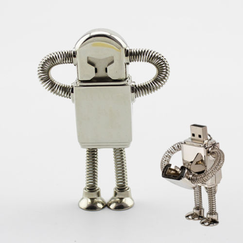 32 Gb Usb Flash Drive, Robot Shaped USB 3.0 memory stick, Gold And Silver pendrive