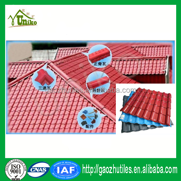 Plastic roof bamboo style synthetic resin spanish tile foshan manufacturer