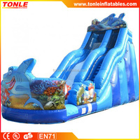 blue Shark Wave inflatable Water Slide for sale/ inflatable shark water slide