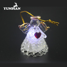 Wholesale handblown light up christmas ornament angel glass figurines with led