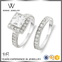 Guangzhou Silver Jewelry Big Stone Wedding Engagement Ring For Couple RC0721562279