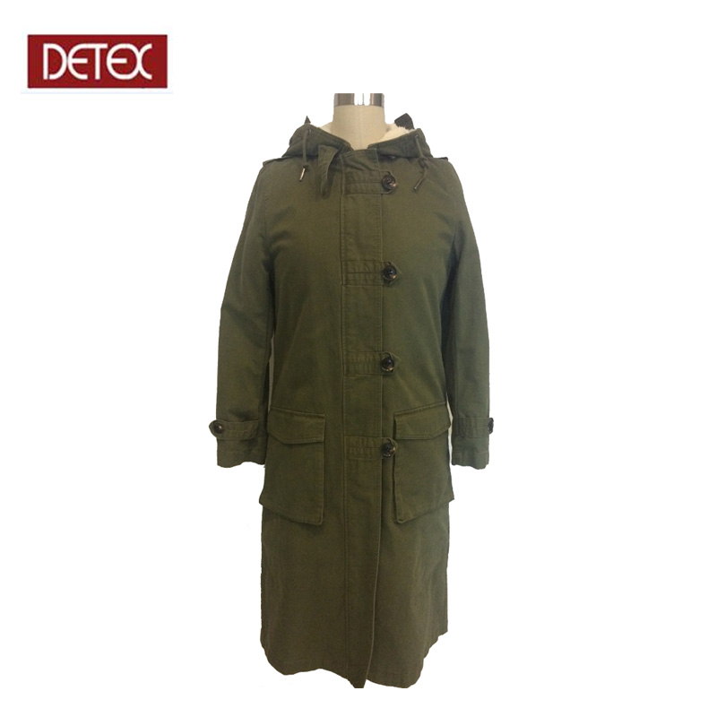 Chinese Manufacturer Women Rmy Green Sherpa Lining Parka Coat