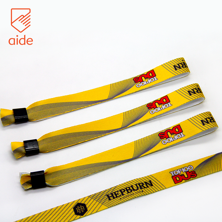 One Direction Adjustable Custom Printed Festival Cloth Event Logo Polyester Woven Fabric Concert Wristbands With Buckle