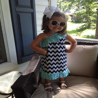 2016 best selling one-shoulder chevron ruffle baby girls cotton dress
