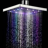 Newest 20x20x10cm Square LED Rain Top Shower Head 7 Colors Automatic Changing With Wall Mounted Or Ceiling Mounted Shower