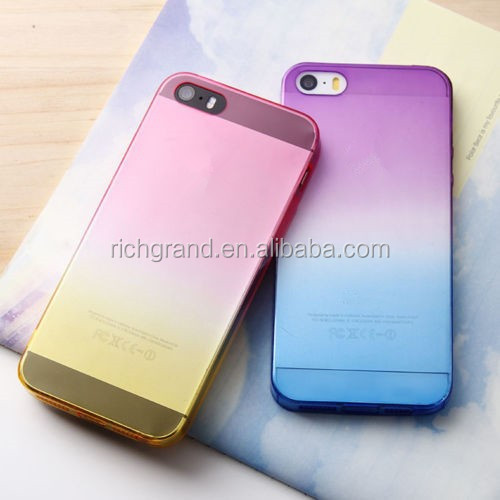Colorful silicone gel rubber clear mobile phone case skin cover for iphone 5 5s