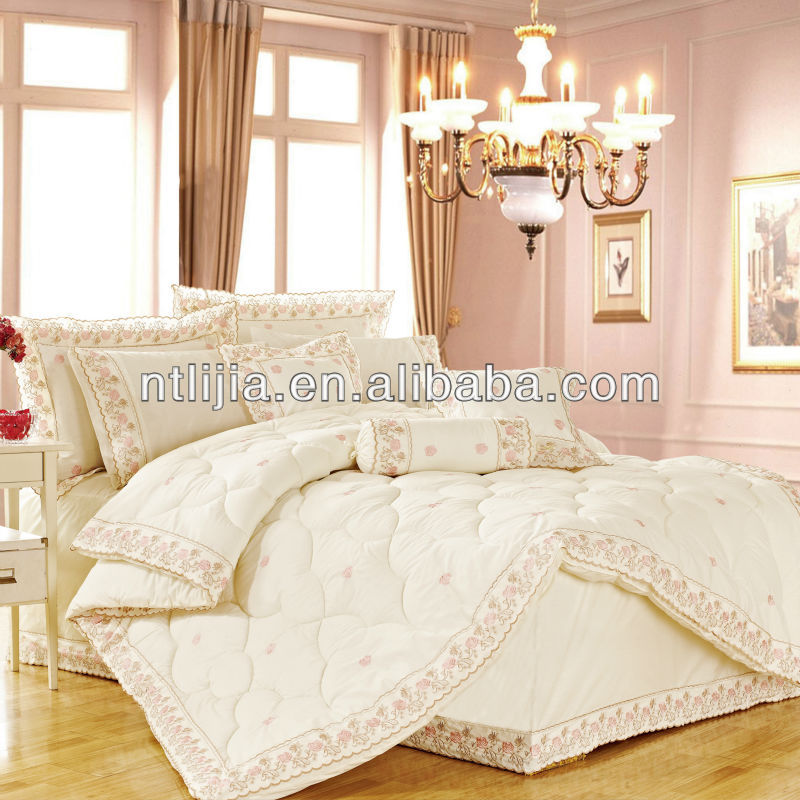 9piece bed linen china fabric king size custom polyester embroidered quilted chinese bed cover
