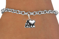yiwu futian market zinc alloy antique silver tone i love ice cream heart charm bracelet for cheap wholesale(OS184870)