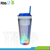 16 OZ double wall LED Light Up Tumbler Snack cup picnic mate with Straw