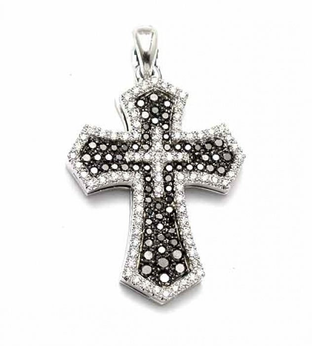 Chic Cross Pendant, 14k White Gold with black and white natural round cut Diamonds, 0.9 carats