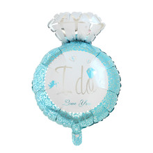 "Party Supplies Party Decorations Finger Ring Blue Angel ""I Do"" Pattern Aluminium Foil Balloon"