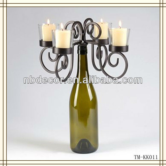 Hot sale black color wine bottle tealight candle holder