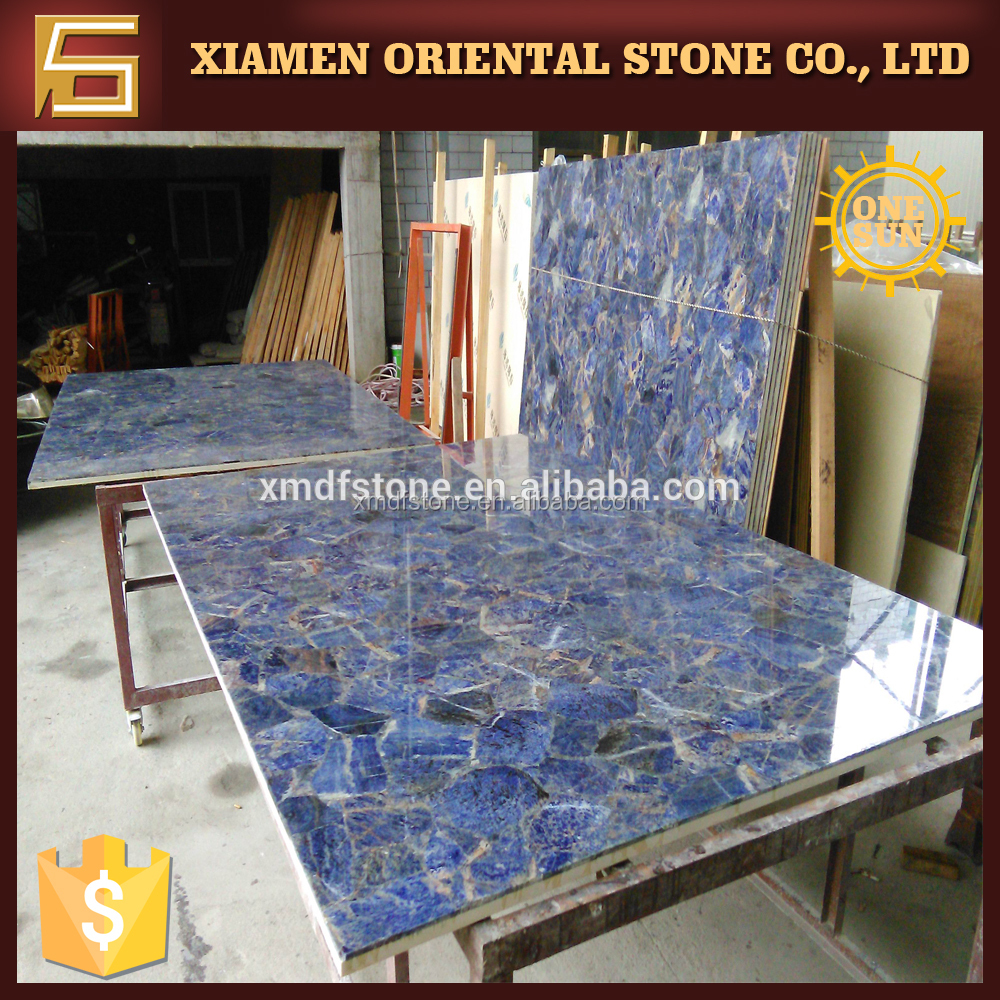 polished sodalite blue marble slab table top fireplace surround
