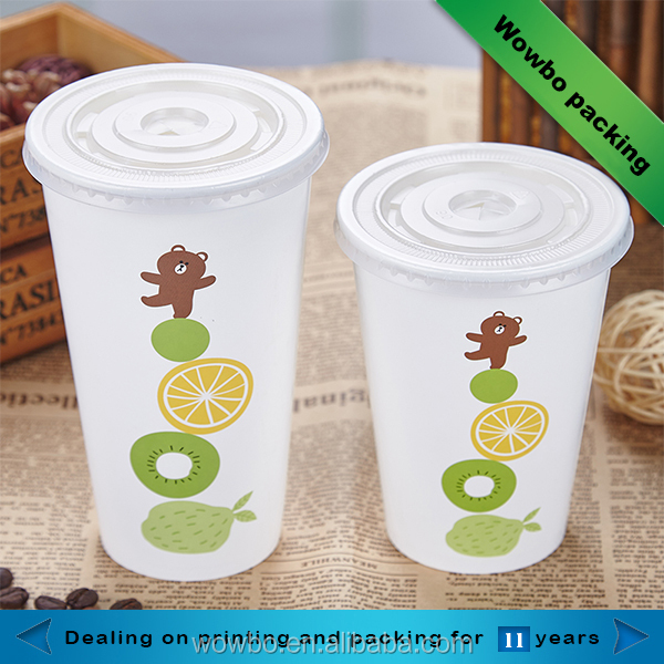 Disposable 16oz 20oz large cold drinking paper cups with customized logo