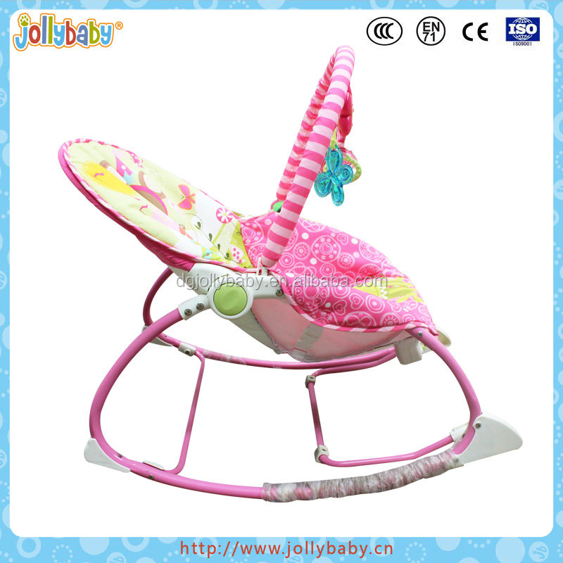 Reclining Electronic Calming Vibration Baby Bouncer with fold-out kickstand
