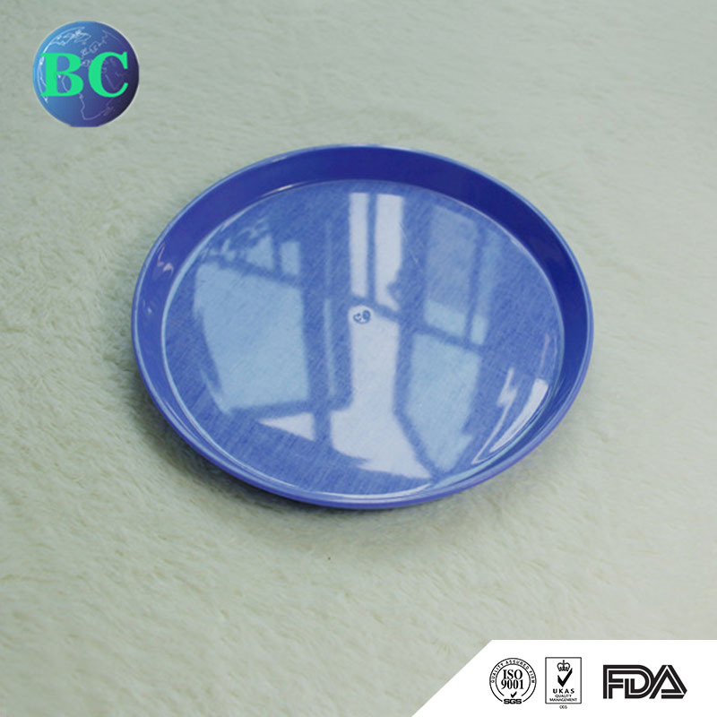 Non-Slip Round Shaped Top Quality Customized Reusable Plastic Food Serving Tray