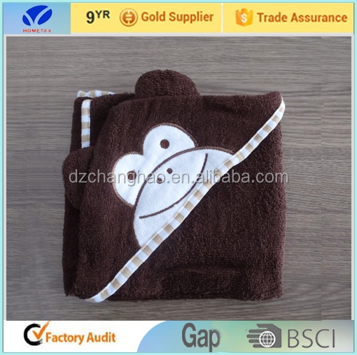 factory wholesale!!100% Cotton Terry Animal Baby Hooded Towel