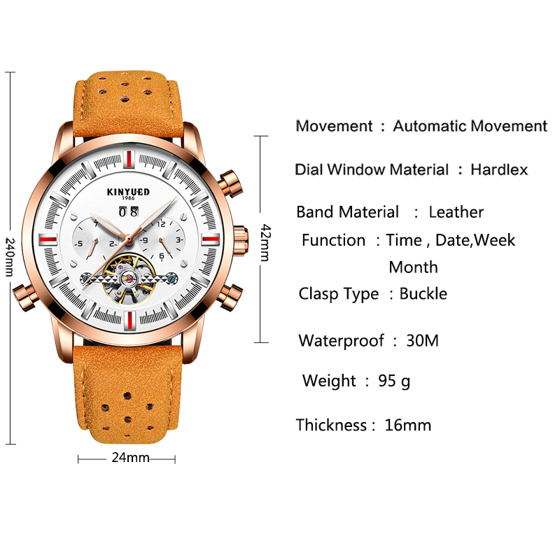 Luxury brand online shopping tourbillon watch leather automatic movement mechanical automatic mens watches