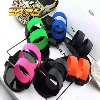 STORY 2017 unisex Slapsee sunglasses outdoor foldable Googgles silicone wristband sunglasses