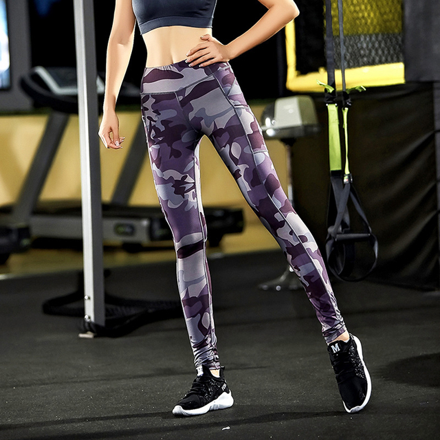 Hot Sale Private Label Camouflage Color Elastic Tights Leggings Sexy Women Yoga Fitness Pants