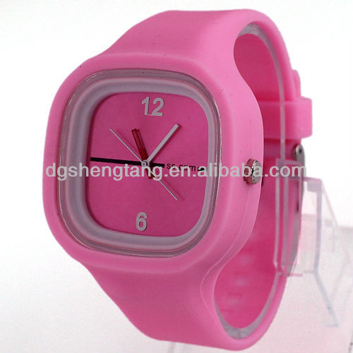 Pink Sports Style Womens Lady Girls Silocone Gifts Analog Jelly Wrist Watches