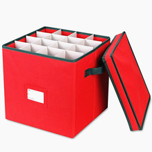 China factory fabric foldable collapsible Christmas ornament storage box Holds Up to 64 Ornaments Balls With Dividers