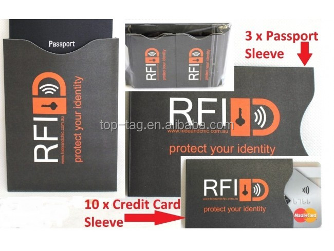 Identity Theft Secure Shield / RFID Greeting Card Holder / Passport RFID Sleeve
