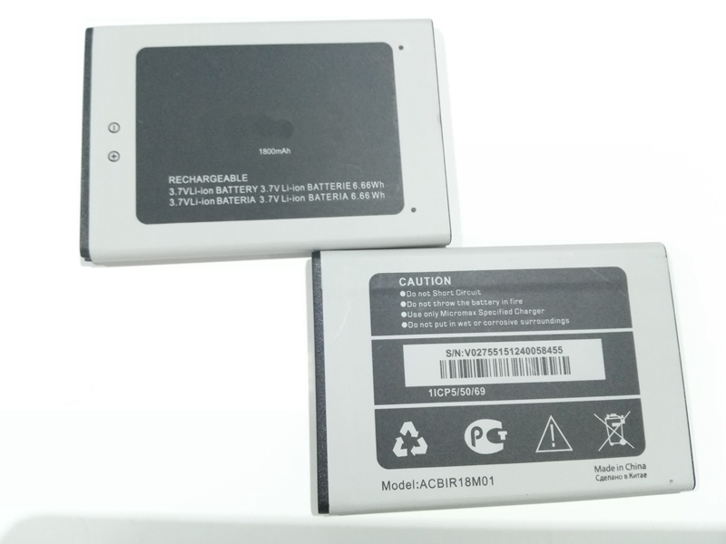 Shenzhen China battery factory 3.7v 1800mah ACBIR18M01 li-ion lithium mobile phone battery for Micromax