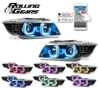 Projector Headlights w/ RGB Multi-Colors LED Angel Eye For BMW E90 E91 05-08 BK