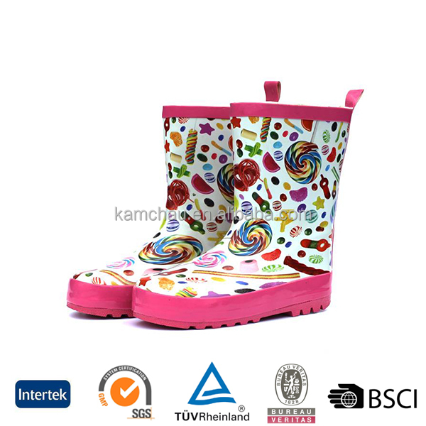2016 unique colorful sugar printed design waterproof children purple durable rubber rain boots